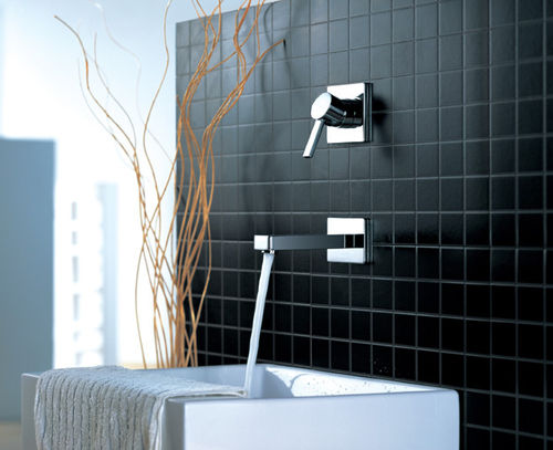 Flova Wall Mounted Single Lever Square Design Basin Mixer with clicker Waste