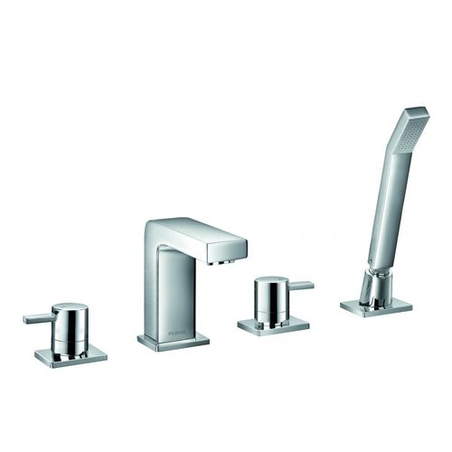 Flova 4 Hole Bath Shower Mixer with Pull out Hand Shower Set - Ixia 1012