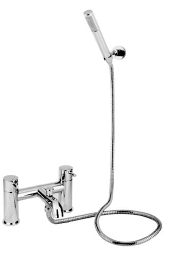Flova Deck Mounted Lever Bath and Shower Mixer Chrome with Hand Shower Set