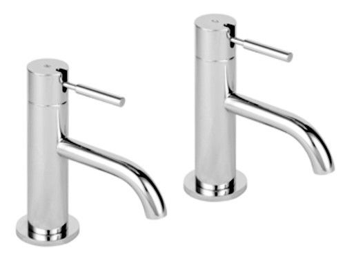 Flova  Lever Operated Basin Pillar Taps Pair up and down on / off