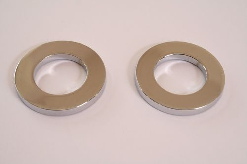 Flova Chrome Plated 50mm Diameter Base Plates for Deck Mounted  Bath Mixer Taps